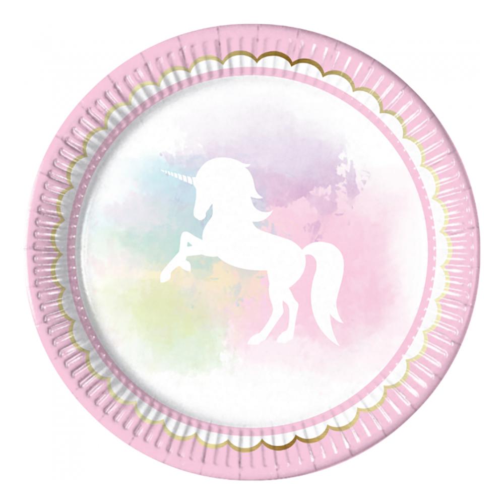 Papperstallrikar Believe in Unicorns - 8-pack