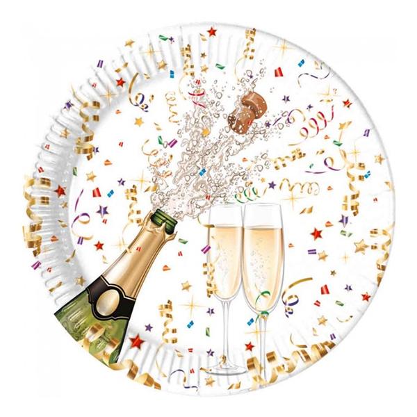 Papperstallrikar Champagne och Konfetti - 8-pack