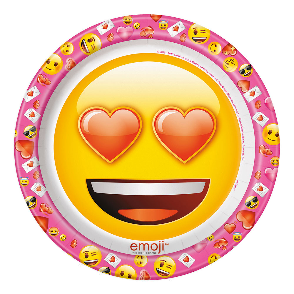 Papperstallrikar Emoji Heart Eyes - 8-pack