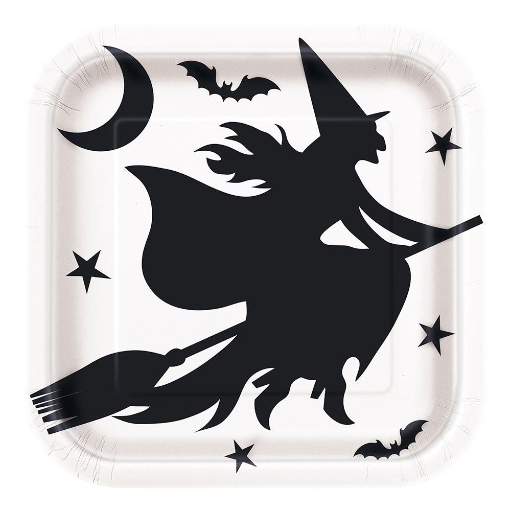 Papperstallrikar Kvadrat Halloween Fladdermöss - 8-pack   Hem//Teman//Färger//Svart   Partyoutlet