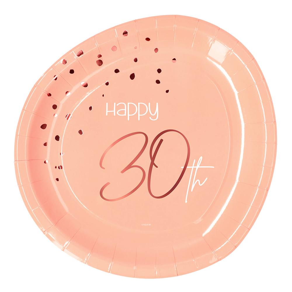 Papperstallrikar Happy 30th Lush Blush - 8-pack