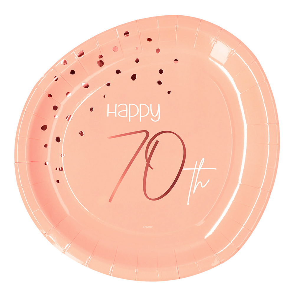 Papperstallrikar Happy 70th Lush Blush - 8-pack