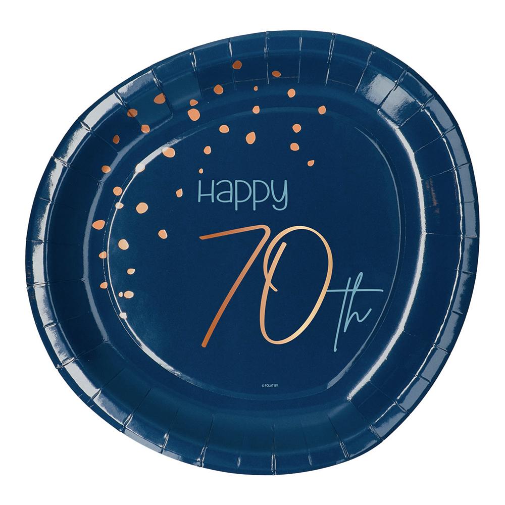 Papperstallrikar Happy 70th True Blue - 8-pack