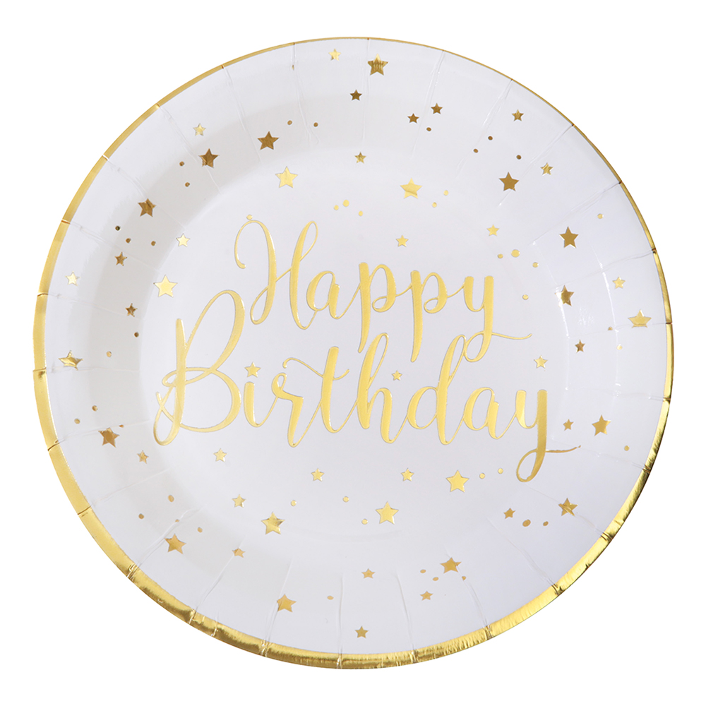 Papperstallrikar Happy Birthday Guld/Vit - 10-pack