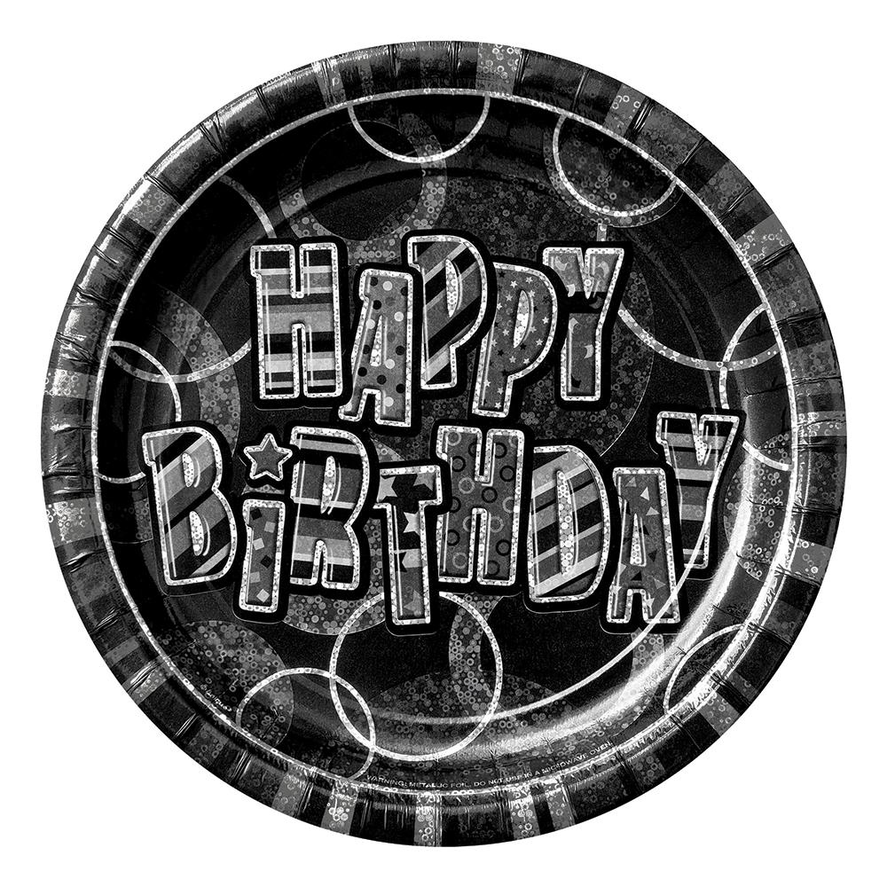 Papperstallrikar Happy Birthday Svart - 8-pack