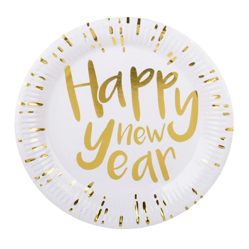 Papperstallrikar Happy New Year Guldmetallic - 6-pack