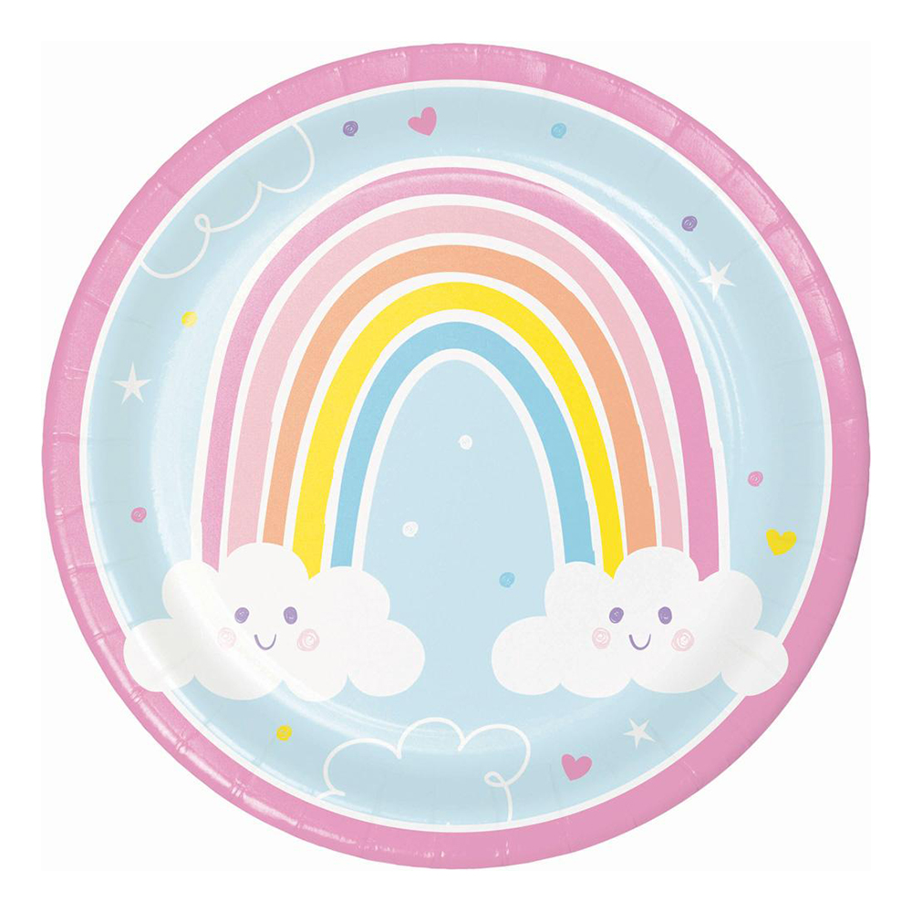 Papperstallrikar Happy Rainbow - 8-pack