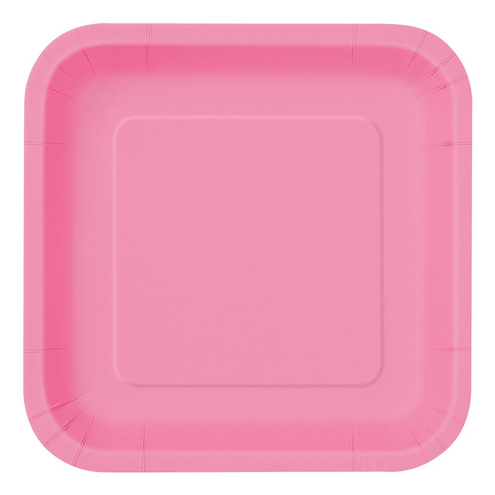 Papperstallrikar Kvadrat Rosa - 14-pack