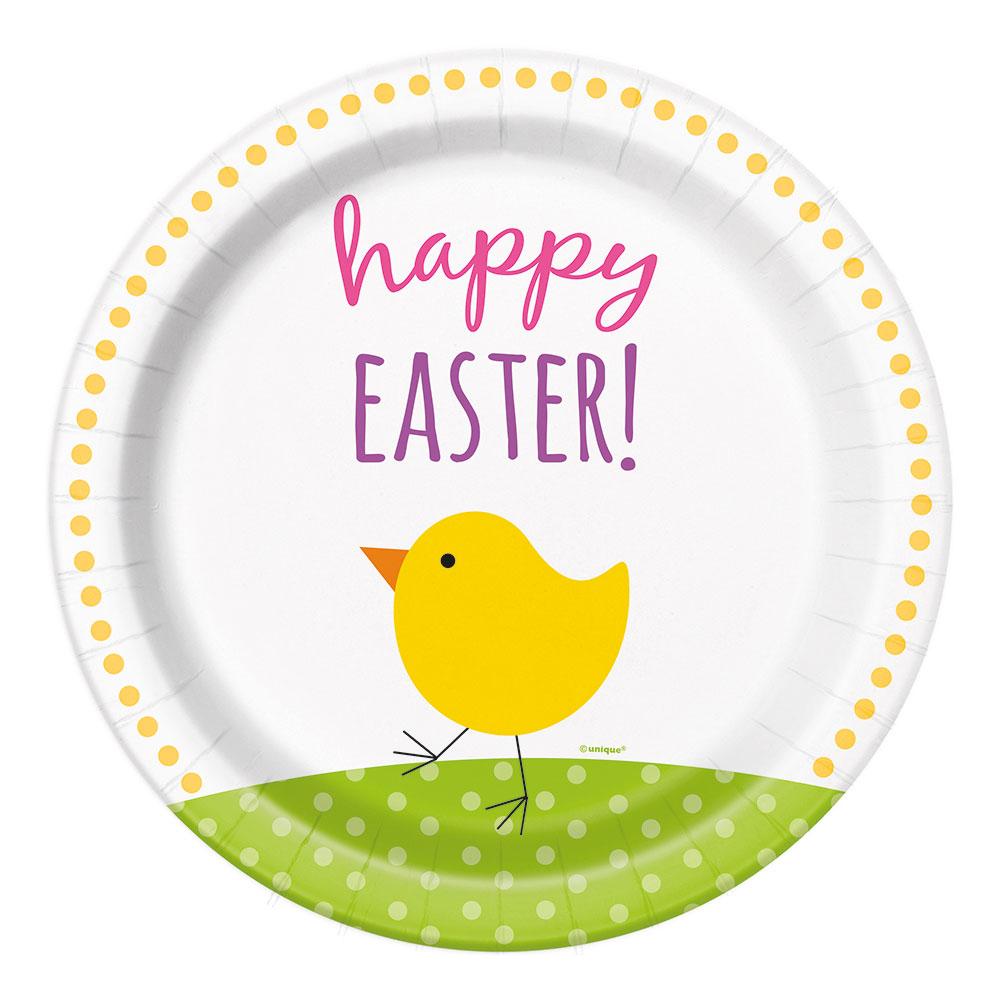 Papperstallrikar Kyckling Happy Easter - 8-pack