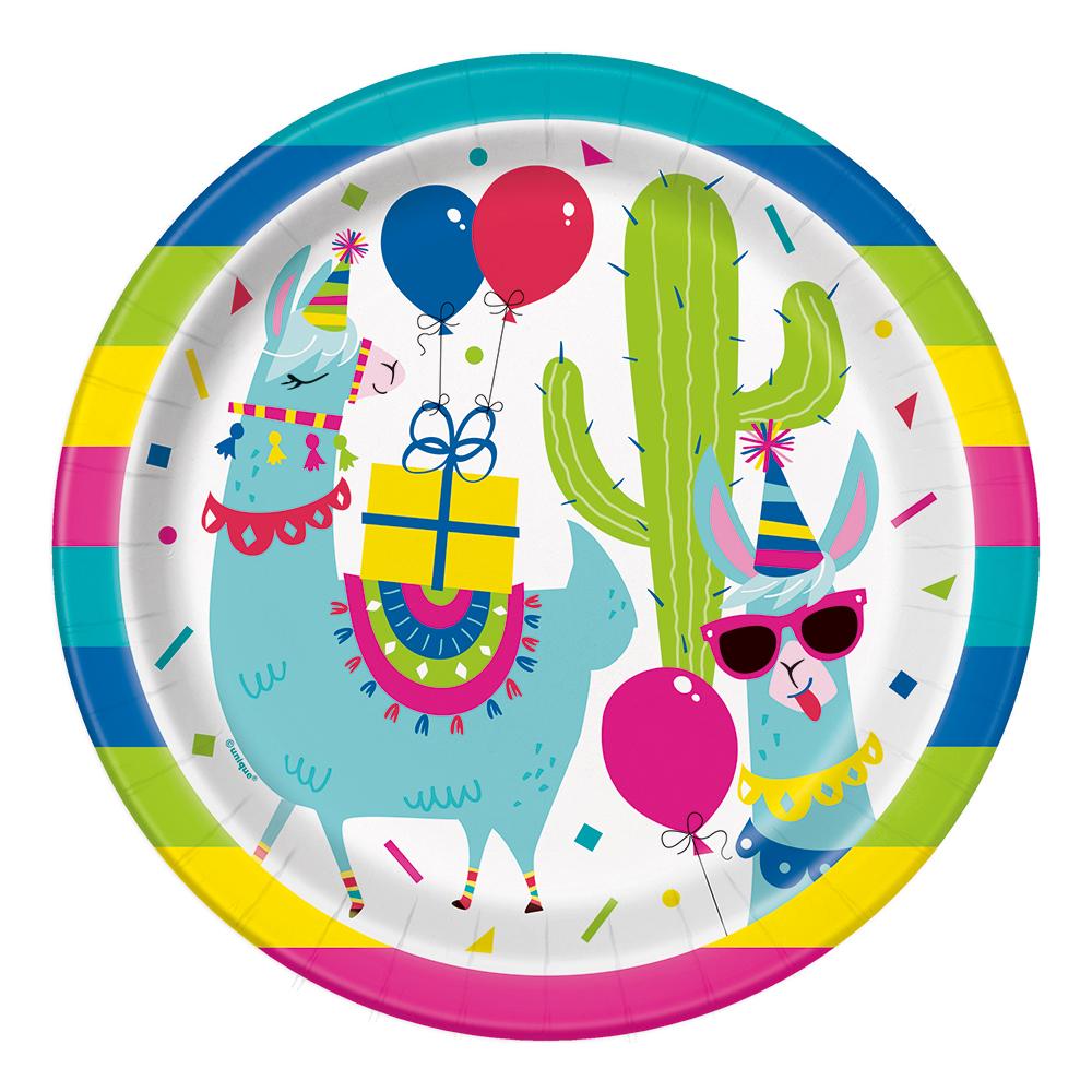 Papperstallrikar Llama Birthday Party - 8-pack