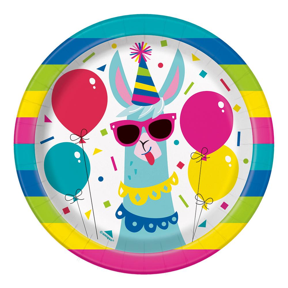 Papperstallrikar Llama Party Flerfärgad - 8-pack