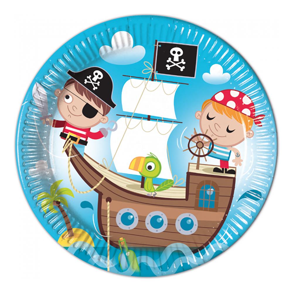 Papperstallrikar Piratbarn - 8-pack