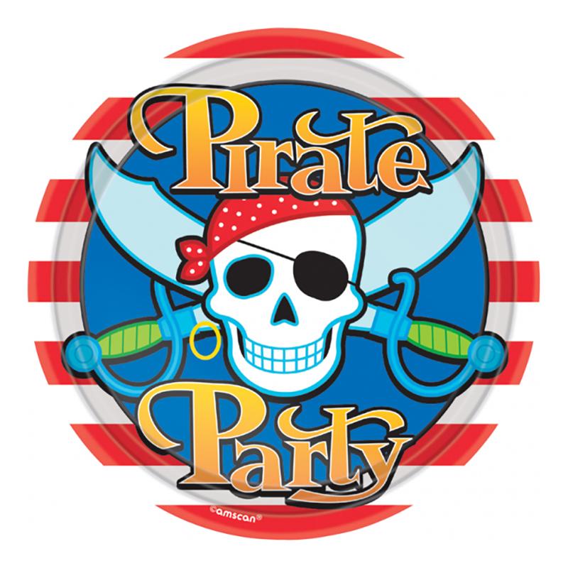 Papperstallrikar Pirate Party - 8-pack