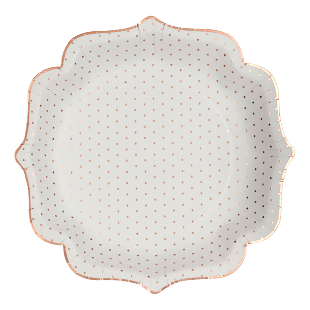 Papperstallrikar Prickiga Rosguld Metallic - 10-pack