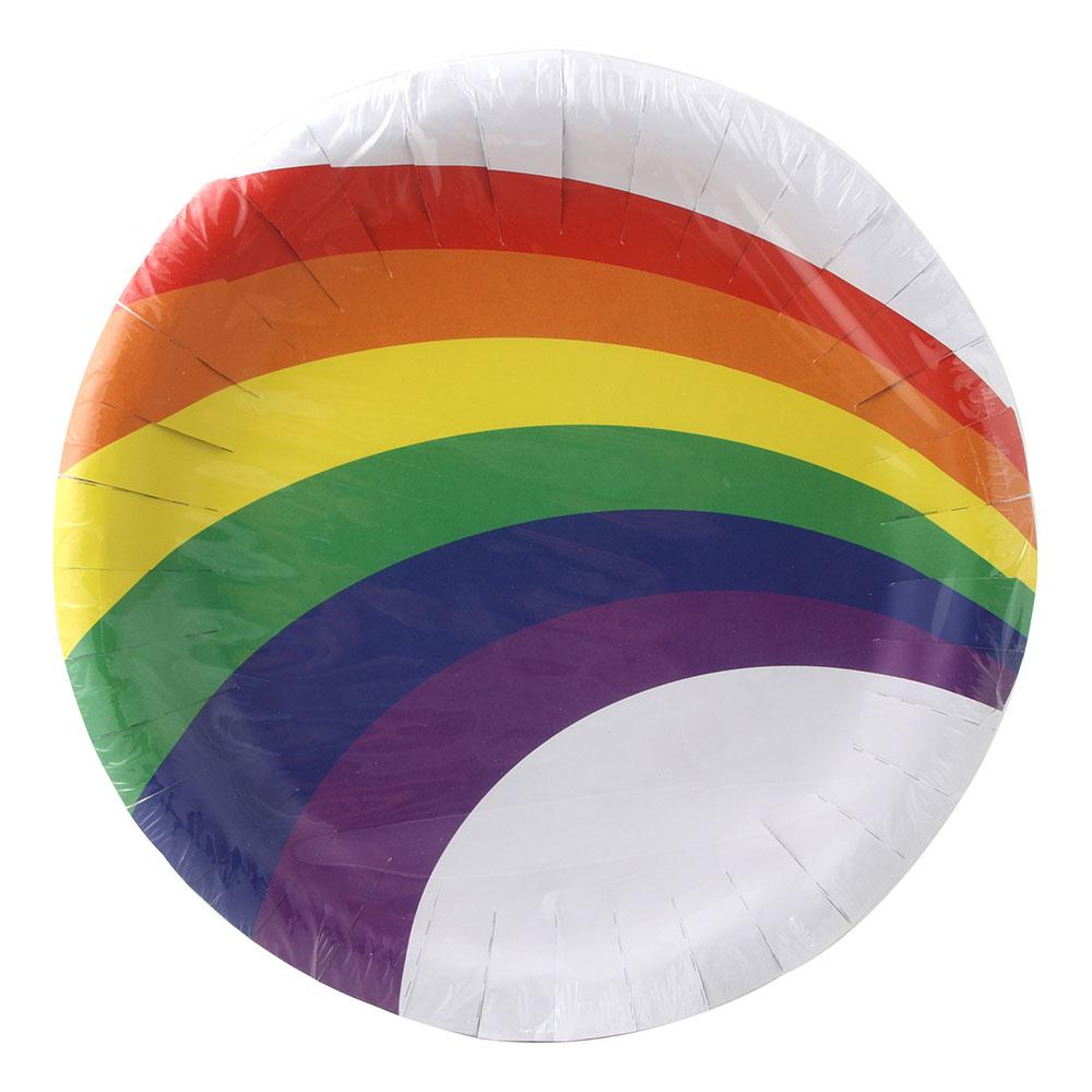 Papperstallrikar Regnbåge - 8-pack