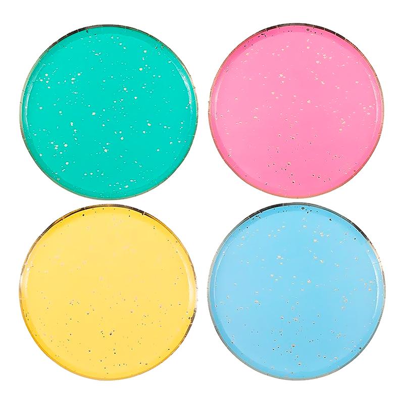 Papperstallrikar Regnbåge Guld - 8-pack