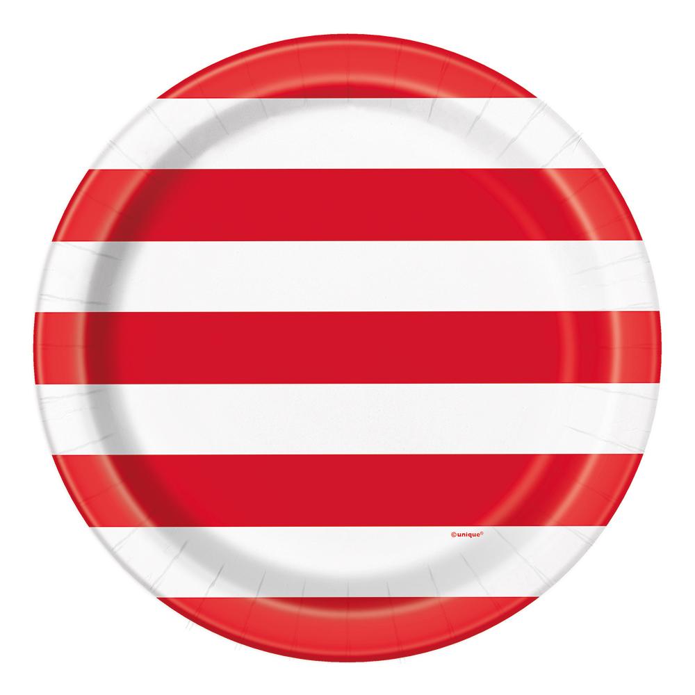 Papperstallrikar Röd/Vit/Randig - 8-pack