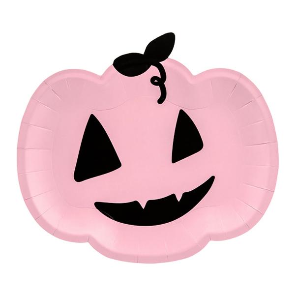 Papperstallrikar Rosa Pumpa Halloween - 6-pack