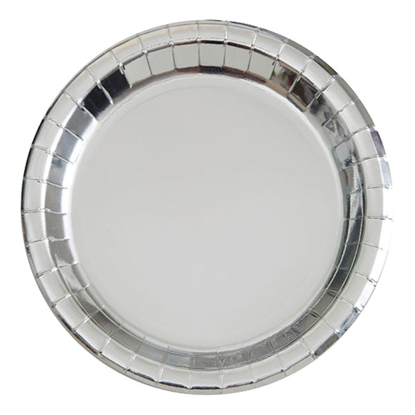 Papperstallrikar Silver Metallic - 8-pack