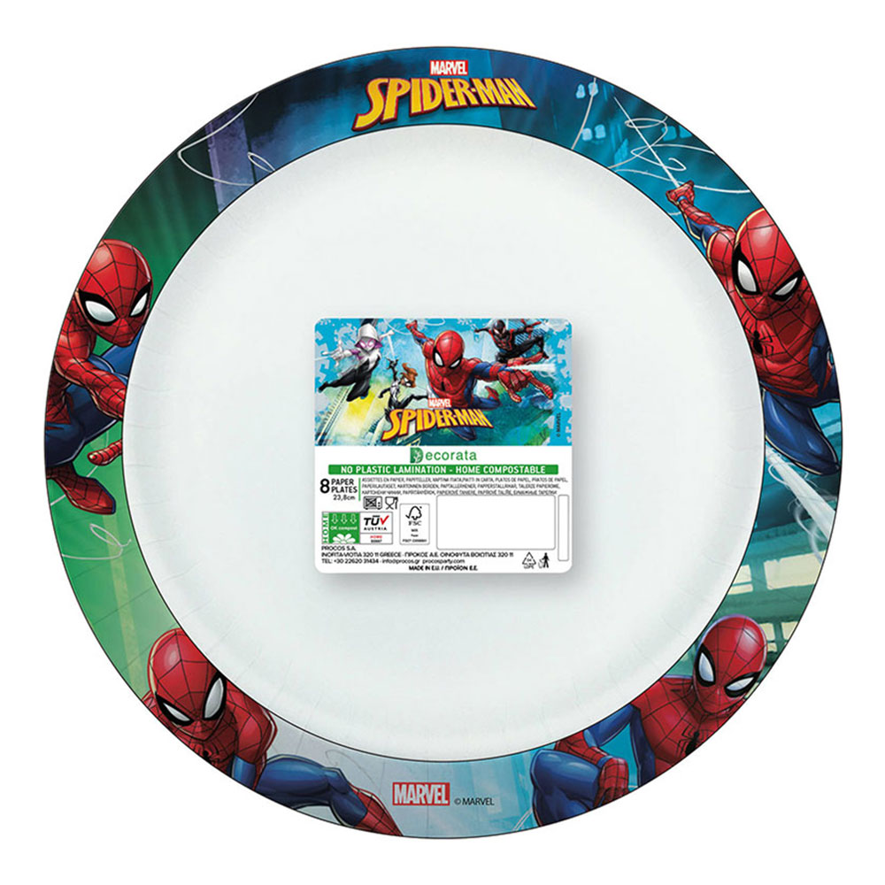 Papperstallrikar Spiderman FSC - 8-pack