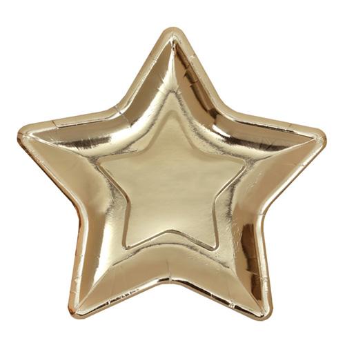 Papperstallrikar Stjärna Guld - 10-pack