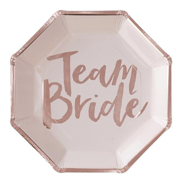 Papperstallrikar Team Bride Oktagon - 8-pack