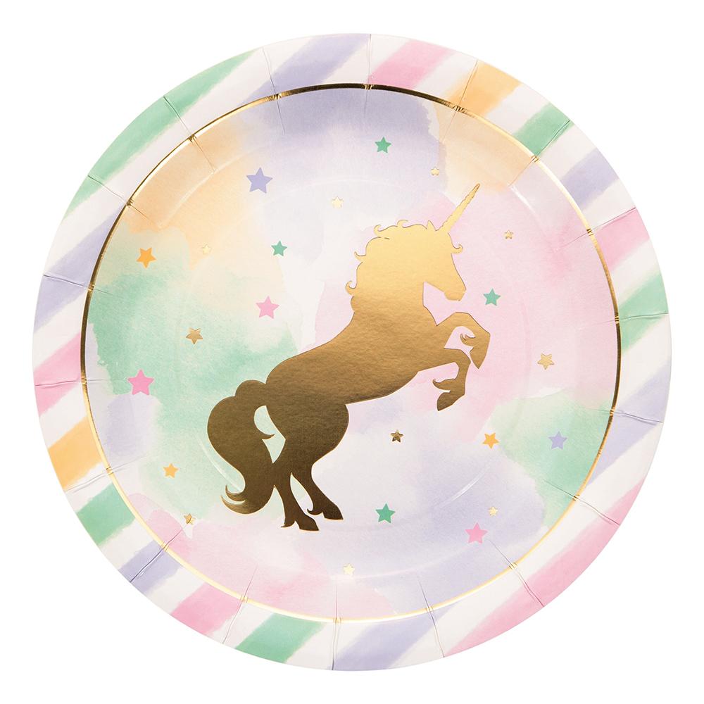 Papperstallrikar Unicorn Sparkle - 8-pack