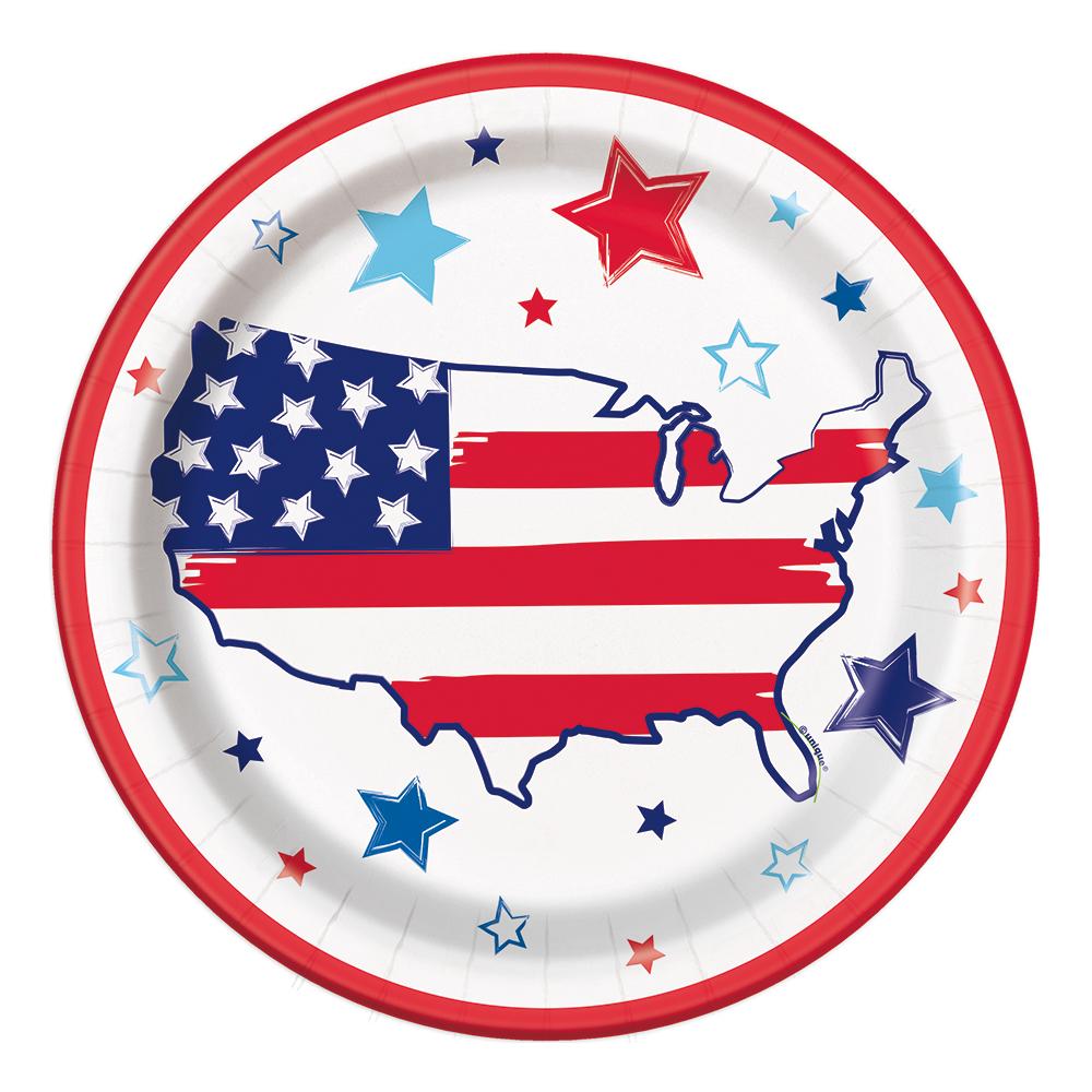 Papperstallrikar USA - 8-pack