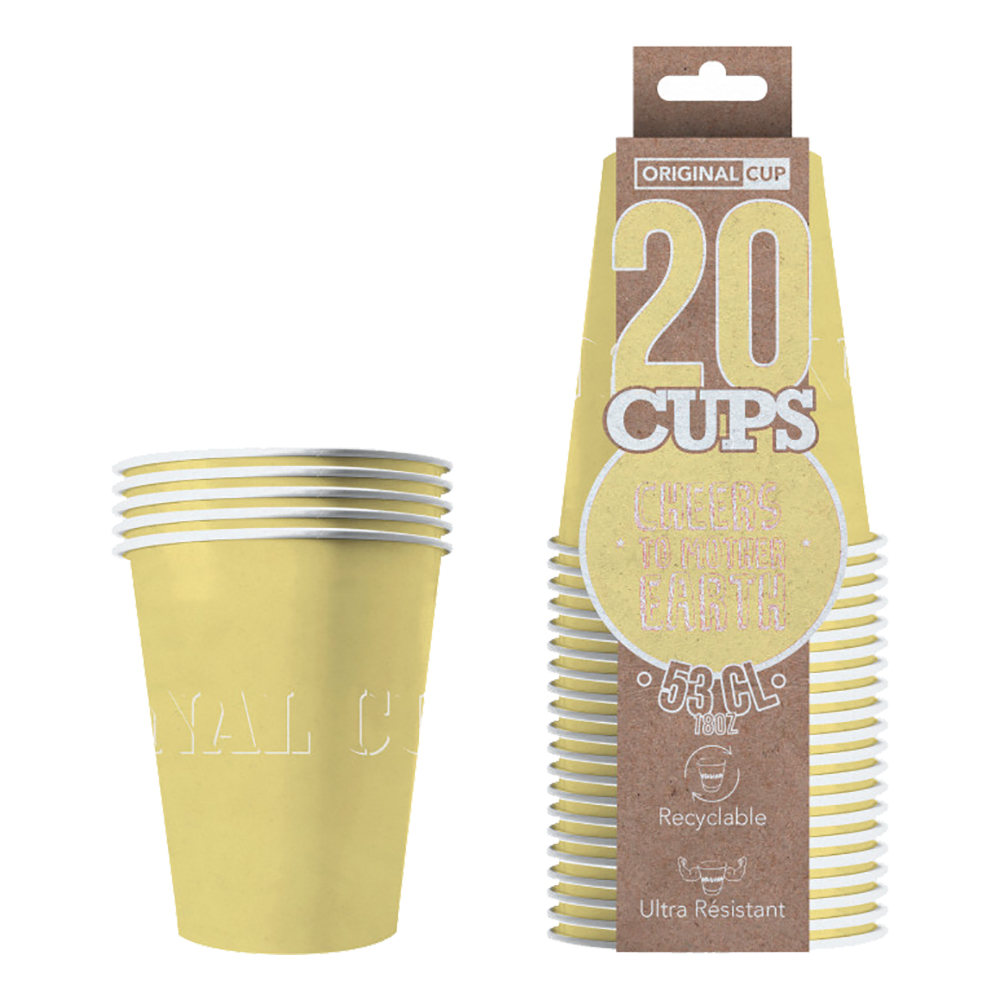 Partycups Papper Pastellgul - 20-pack