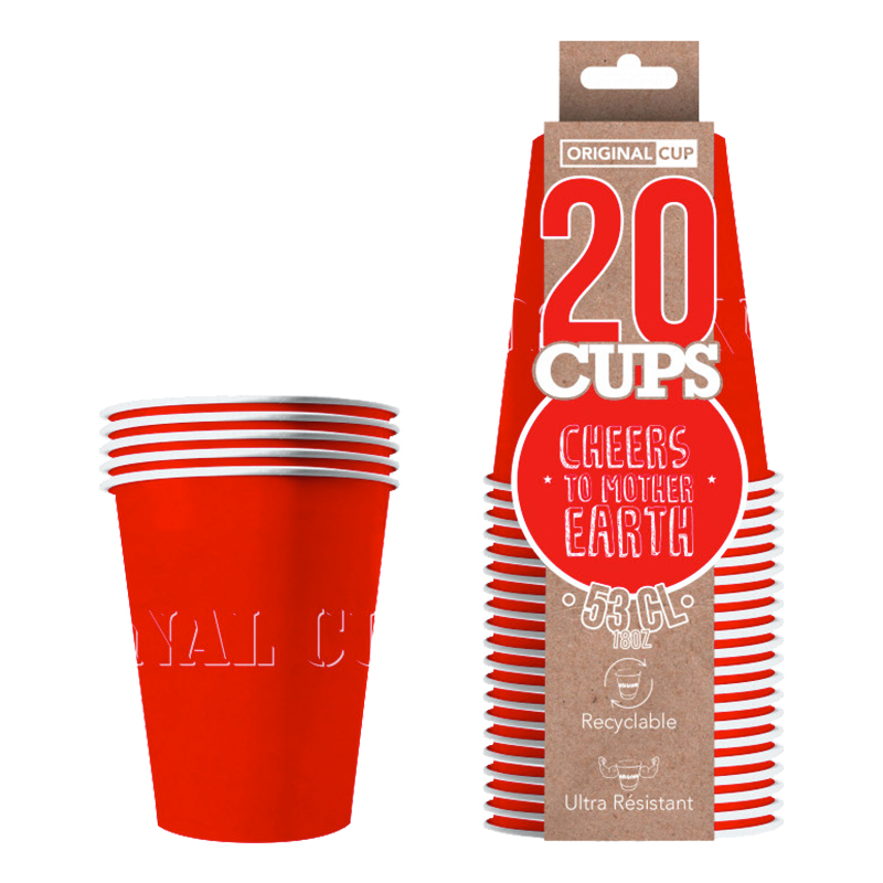 Partycups Papper Röd - 20-pack