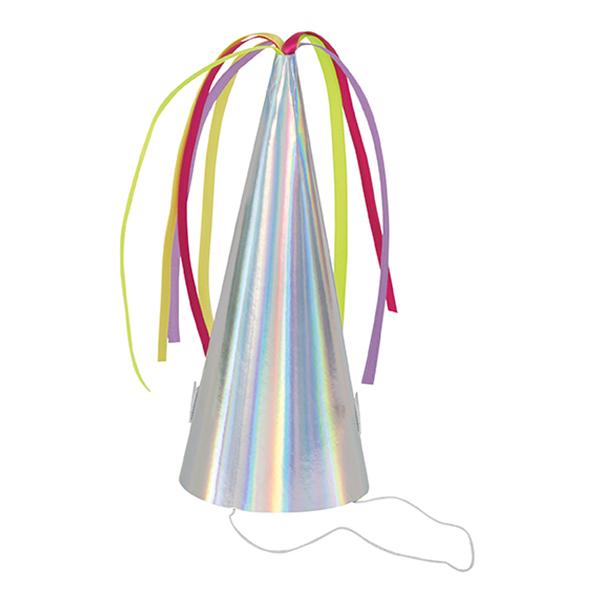 Partyhattar Enhörningshorn Färgskimrande - 8-pack