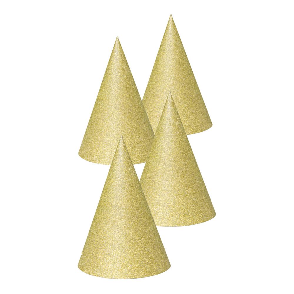Partyhattar Guld Glitter - 4-pack