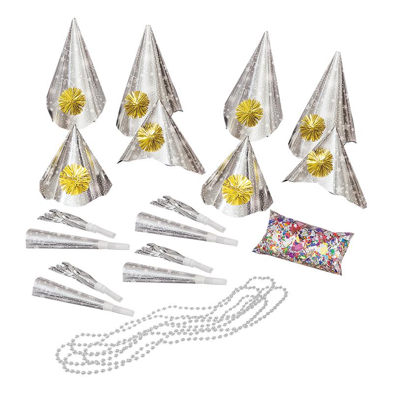 Partykit Nyår Silver - För 10 personer