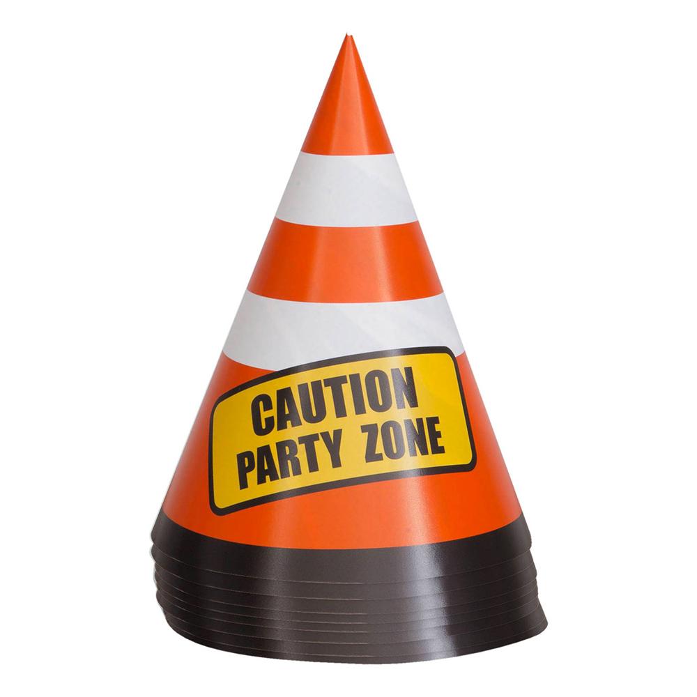 Varningskoner i Papp Party Zone - 8-pack