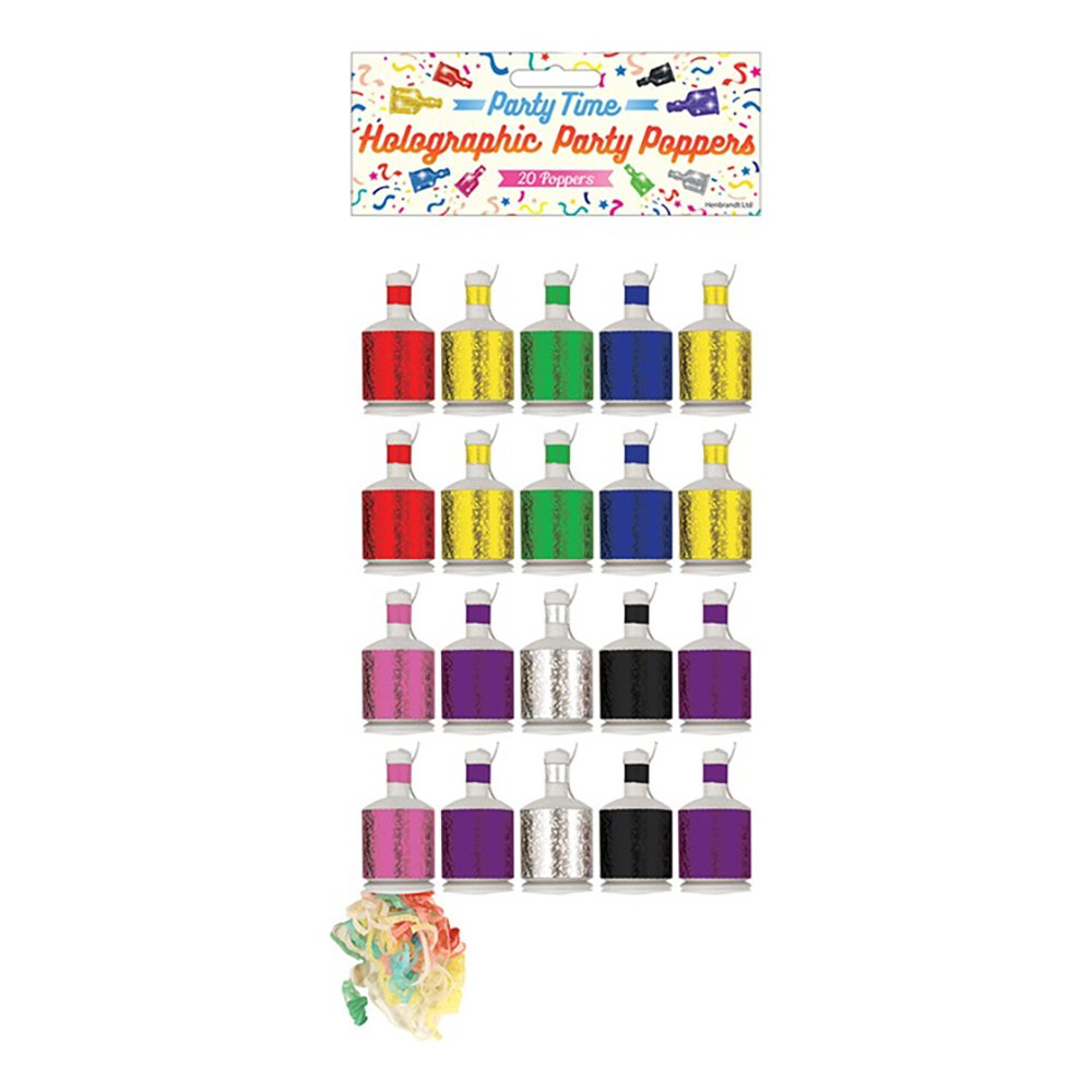 Partypoppers Holografiska - 20-pack