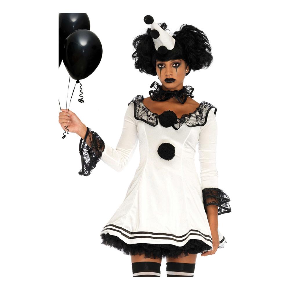 Pierrot Clown Dam Maskeraddräkt - Small/Medium