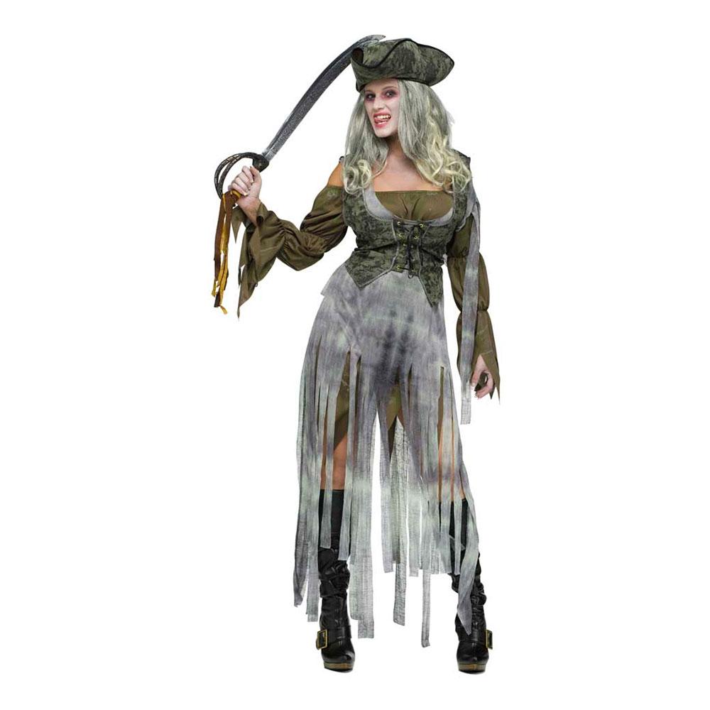 Pirat Dam Zombie Maskeraddräkt - Small/Medium