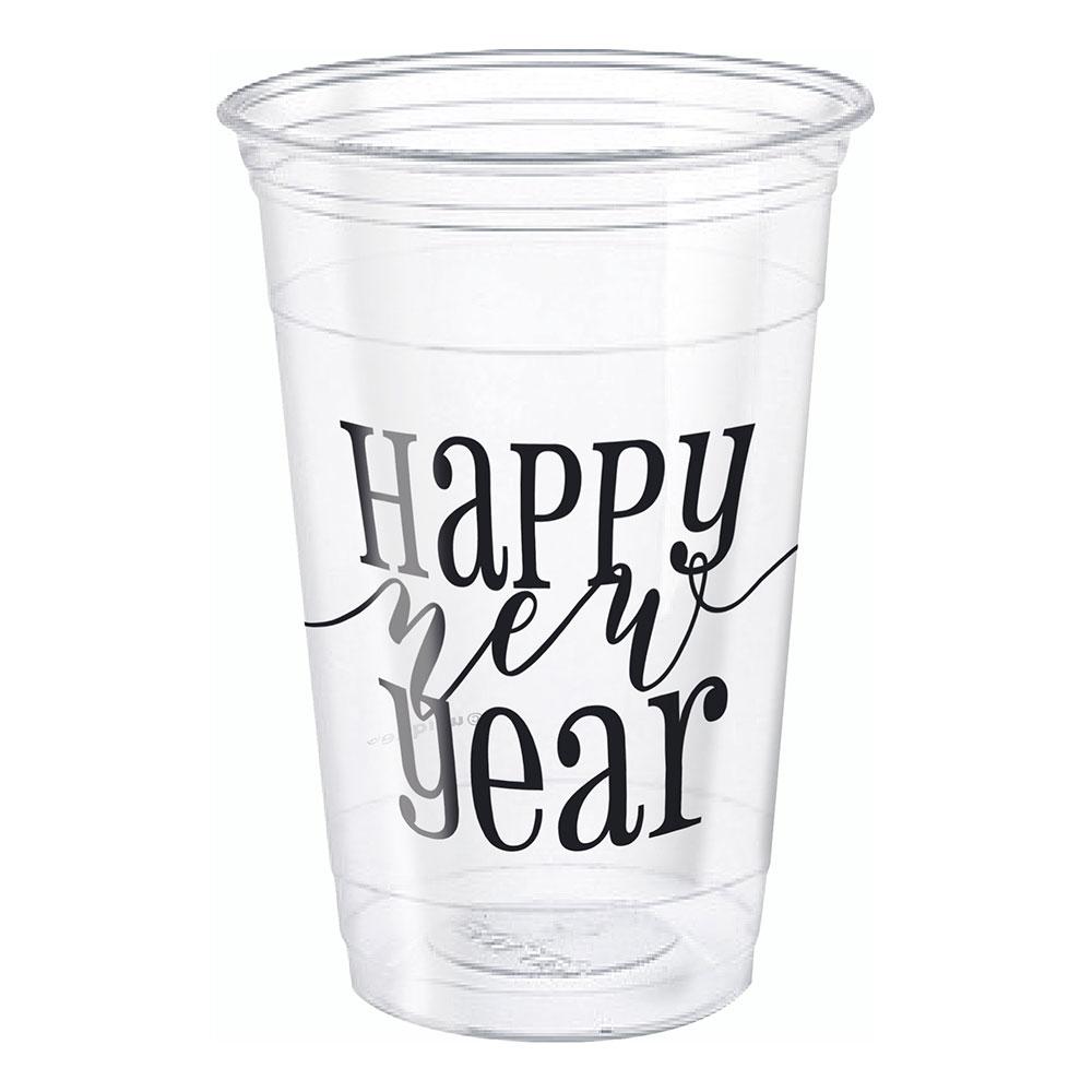 Ölglas i Plast Happy New Year - 8-pack