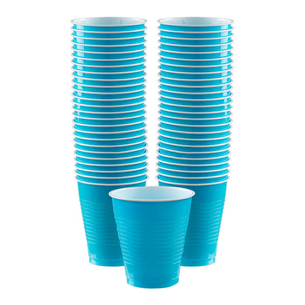 Plastmuggar Turkosa - 50-pack 473 ml