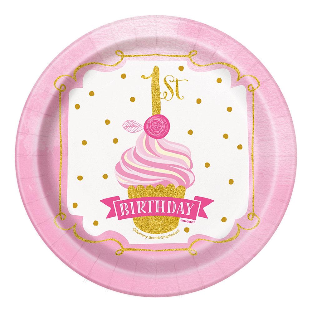 Pappersassietter 1st Birthday Rosa - 8-pack