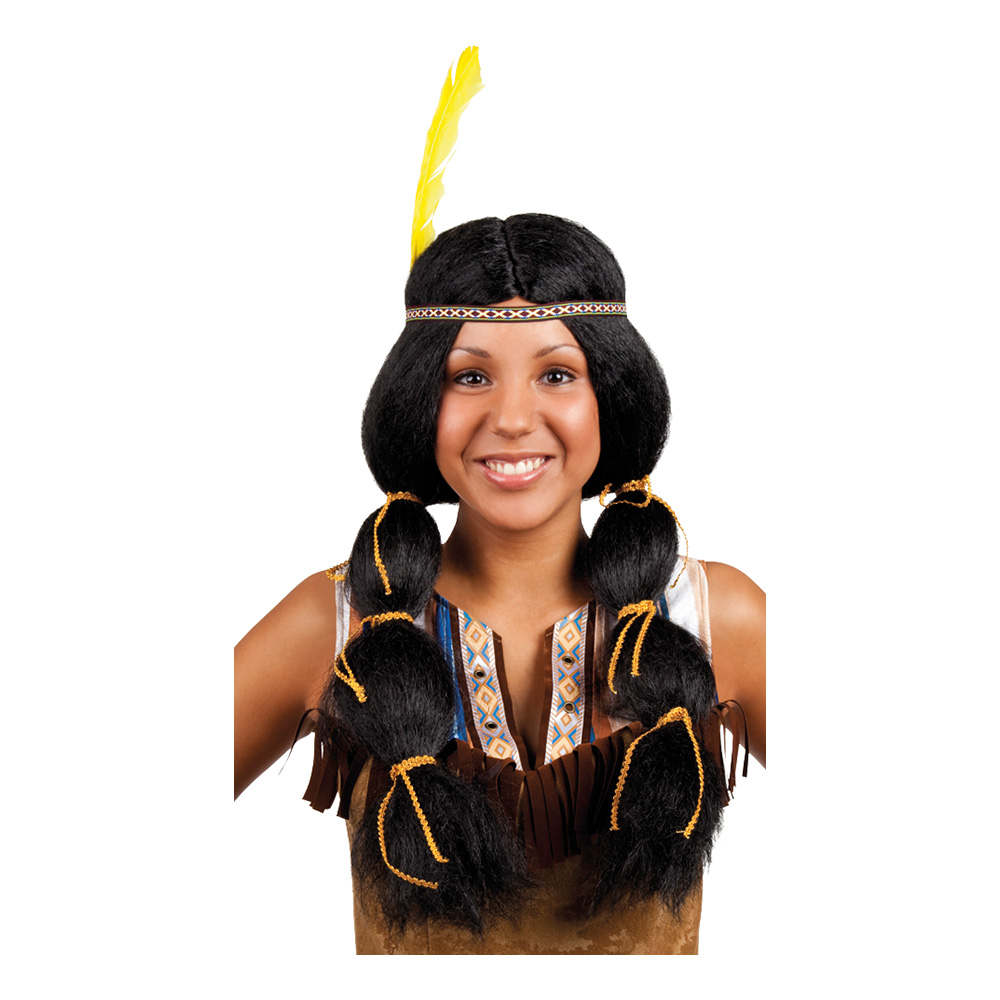 Pocahontas med Pannband Peruk - One size