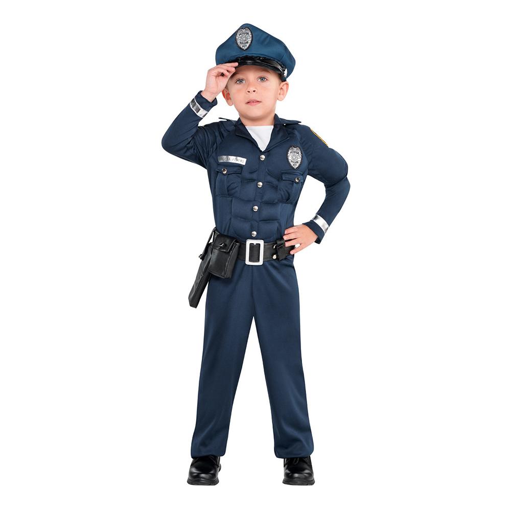 Polisdräkter - Polis med Muskler Barn Maskeraddräkt - Small