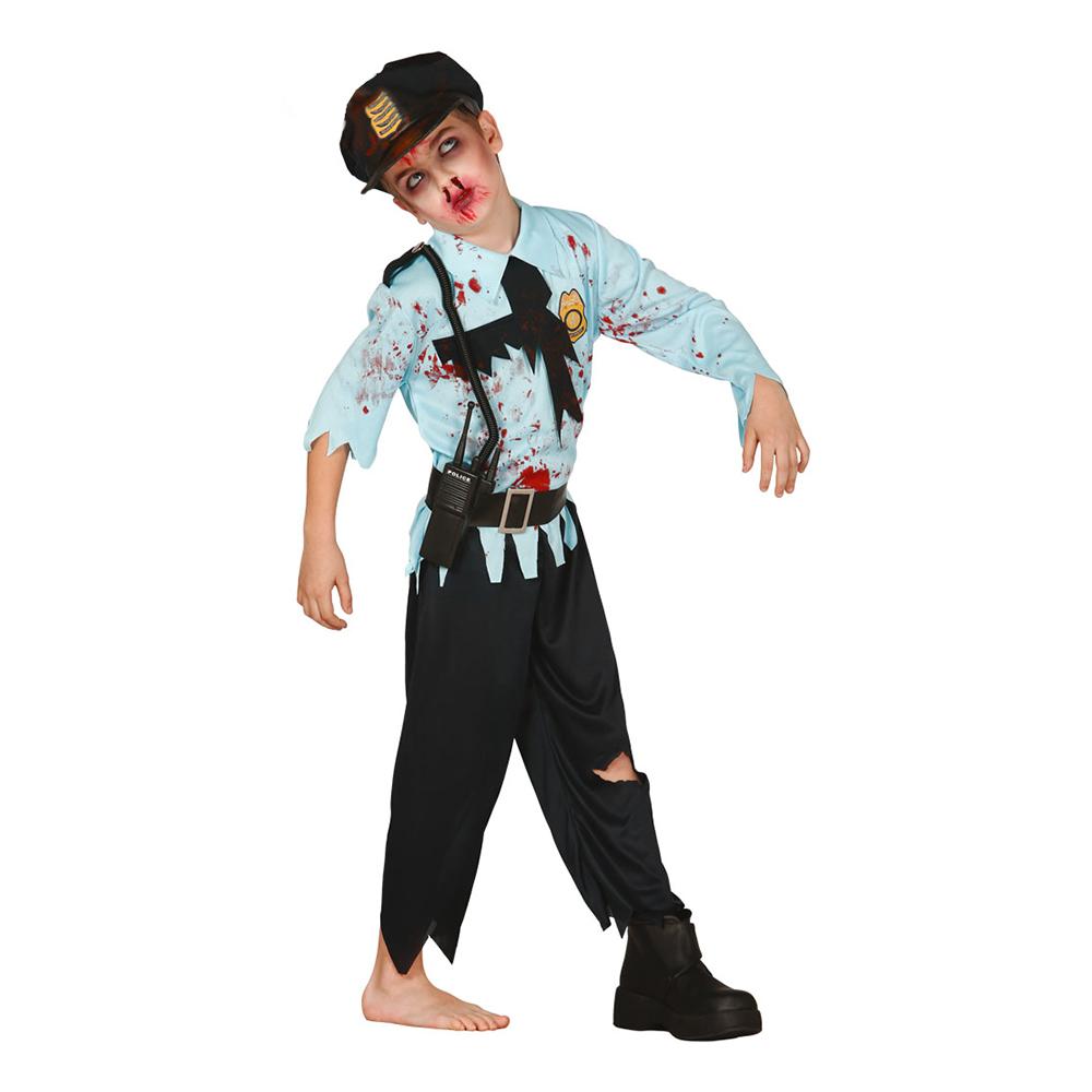 Polis Zombie Barn Maskeraddräkt - Small