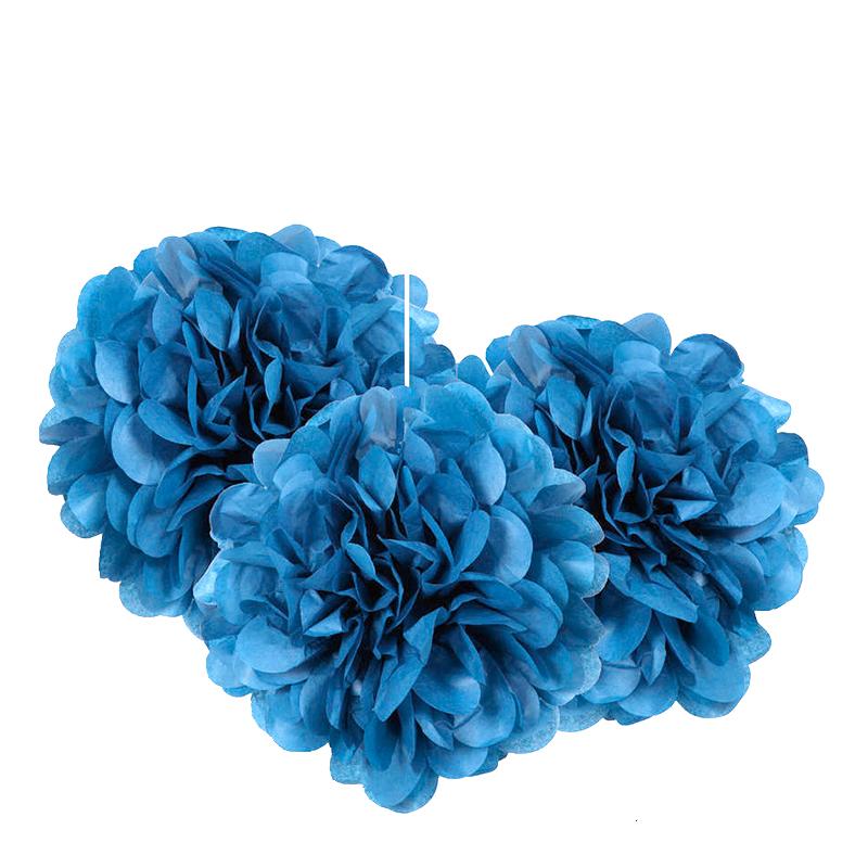 Pom Pom Mini Blå Hängande Dekoration - 3-pack