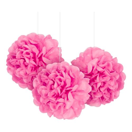 Pom Pom Mini Rosa Hängande Dekoration - 3-pack