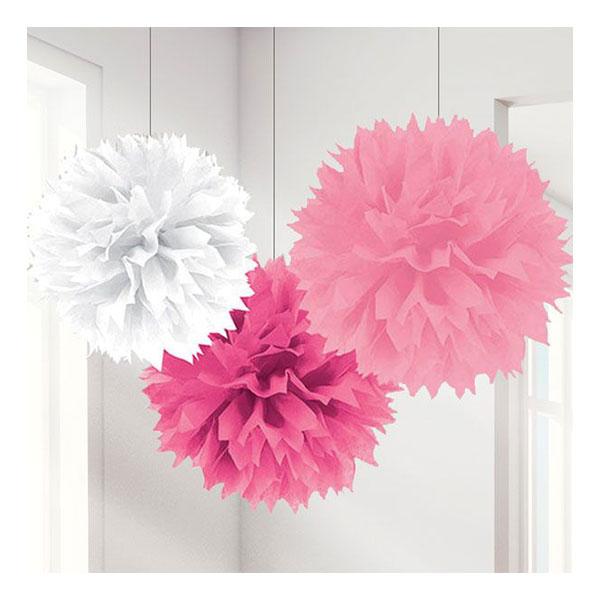 Pom Pom Rosa Mix Hängande Dekoration - 3-pack