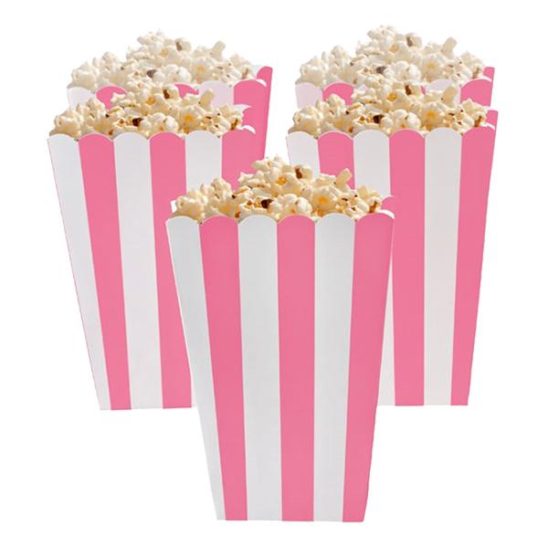 Popcornbägare Rosa Randiga - 5-pack