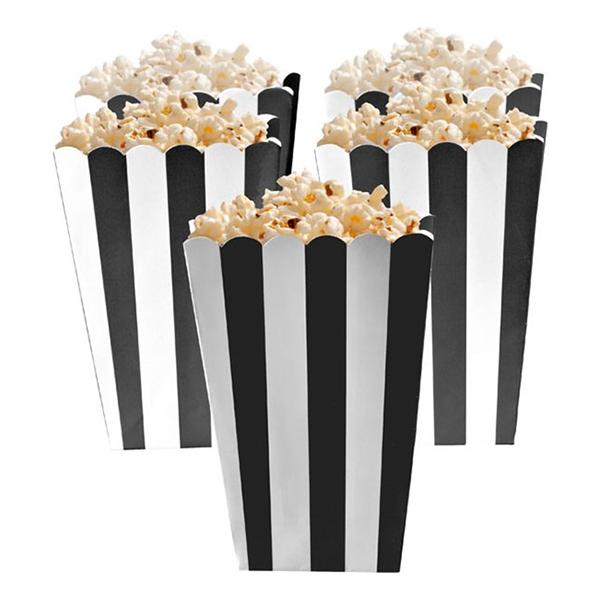 Popcornbägare Svarta Randiga - 5-pack