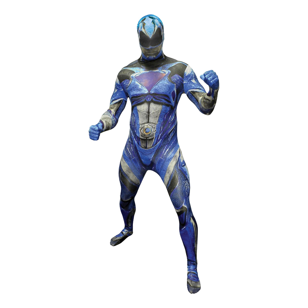 Power Ranger Blå Deluxe Morphsuit Maskeraddräkt - Medium