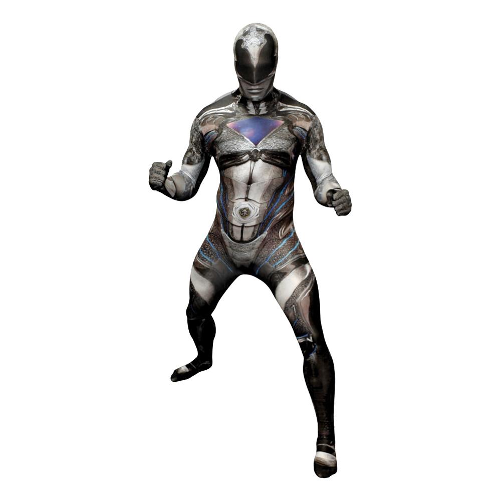 Power Ranger Svart Deluxe Morphsuit Maskeraddräkt - Large